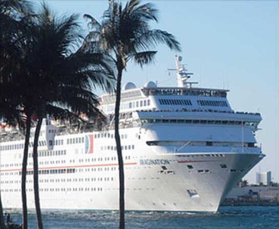 Palm trees with a large white cruise ship in the background.