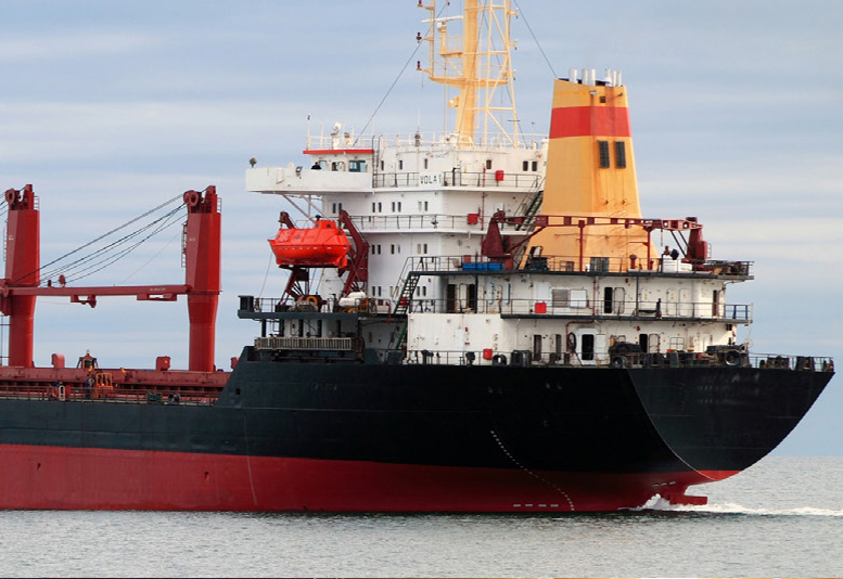 Large black and red bulk carrier.