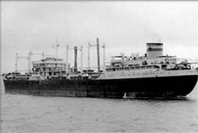 Old photo of a large carrier vessel in black and white.