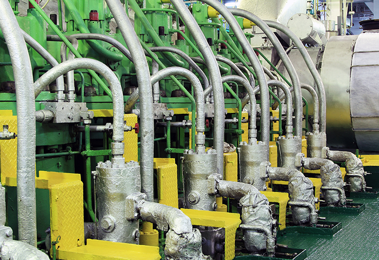 Green and yellow piping systems.
