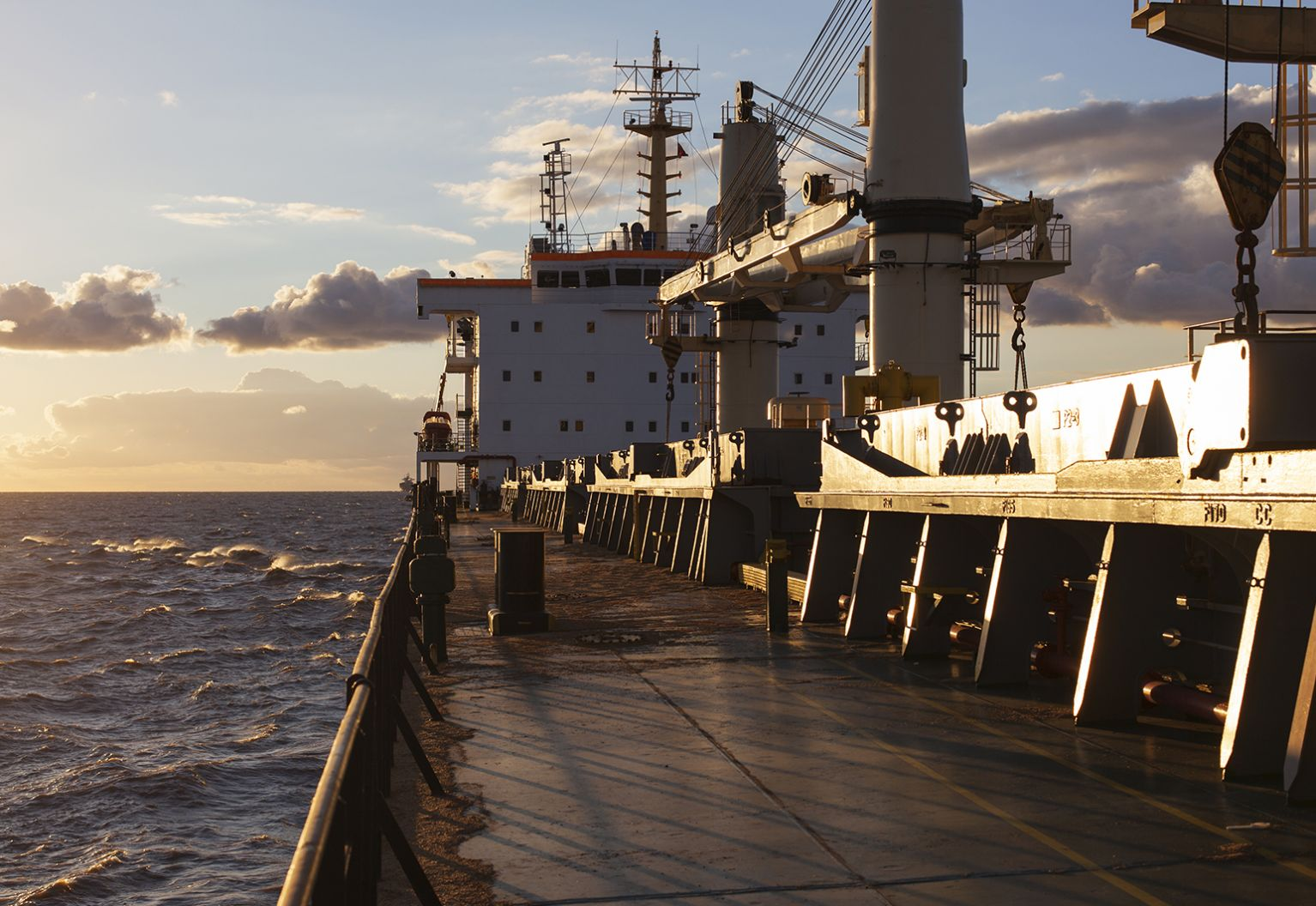 View of deck of a bulk carrier.